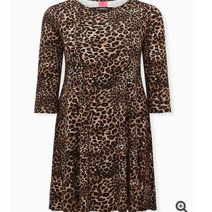 Torrid Betsey Johnson Leopard Ponte Skater Dress